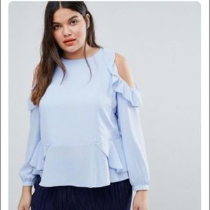 ASOS Curve Blouse with Ruffle Cold Shoulder, 18